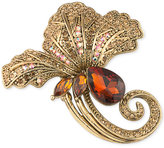 Carolee Gold-Tone Stone and Crystal Flower Pin