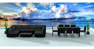 Brayden Studio Dana 16 Piece Complete Patio Set with Cushions Frame Color/Cushion Color: Black/Charcoal
