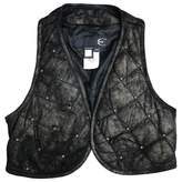 Just Cavalli Navy Leather Top for Women