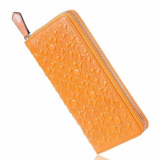Luxury English Leather Ladies 12 Card Zip Around Purse & Wallet In Monarch Orange
