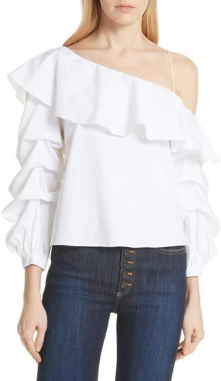 Alice + Olivia Irvine Ruffle One-Shoulder Blouse