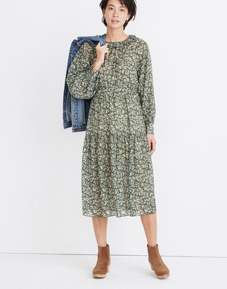 Madewell Ruffle-Neck Tiered Midi Dress in Forest Leaves