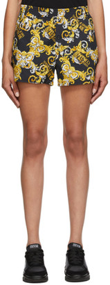 Versace Black and Gold Logo Baroque Shorts