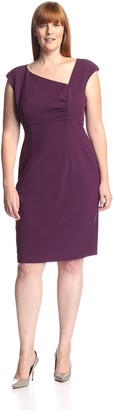 Society New York Women's Asymmetrical Neck Sheath Dress