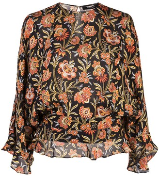 Derek Lam ruffle hem floral print blouse