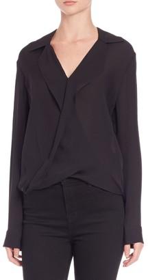 L'Agence Rita Drape-Front Silk Blouse
