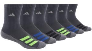 adidas Big Boys Cushioned Angle Stripe Crew Sock Pack of 6