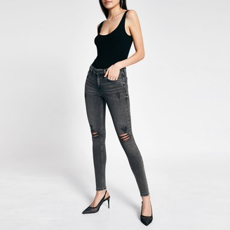 River Island Womens Grey diamante Amelie mid rise skinny jeans