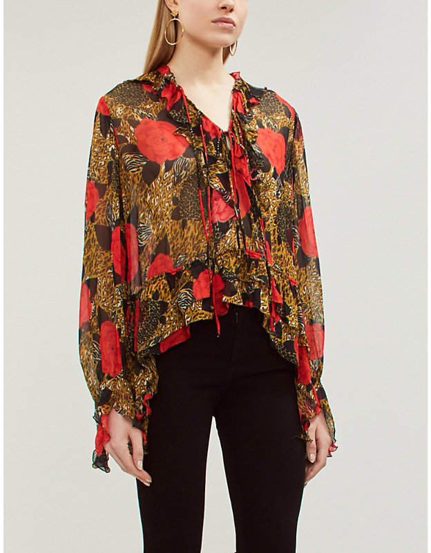 The Kooples Animal and rose-print chiffon blouse