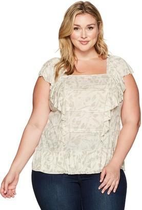 Lucky Brand Women's Plus Size Woven Mix Ruffle Tank Top