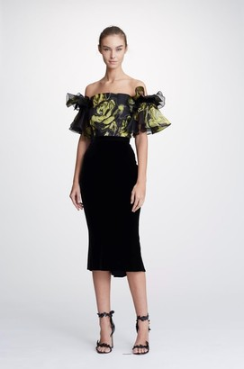 Marchesa Jacquard Off Shoulder Cocktail Dress
