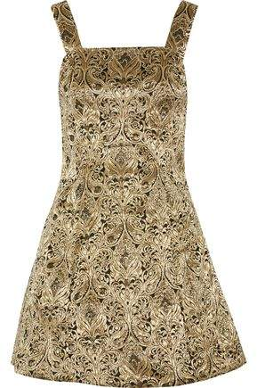 Alice + Olivia Fowler Embellished Brocade Mini Dress