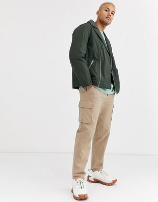 ASOS DESIGN puffer biker jacket in khaki