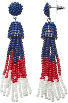 Red, White & Blue Seed Bead Tassel Drop Earrings