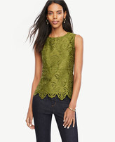 Ann Taylor Botanical Lace Peplum Top
