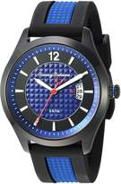 Tommy Bahama Men's Casual Stainless Steel Case and Black and Navy Blue Silicon Strap Watch (Model:TB00029-02)