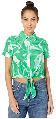 Milly Stencil Floral Print Bonnie Top (Green Multi) Women's Clothing
