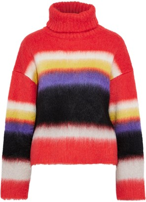 Diane von Furstenberg Striped Brushed Knitted Turtleneck Sweater
