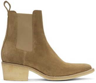 Amiri Beige Pointy Toe Chelsea Boots