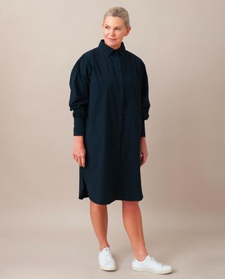 Beaumont Organic Lara Organic Cotton Dress In Deep Indigo - Deep Indigo / Small