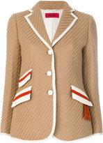 The Gigi contrast piping blazer