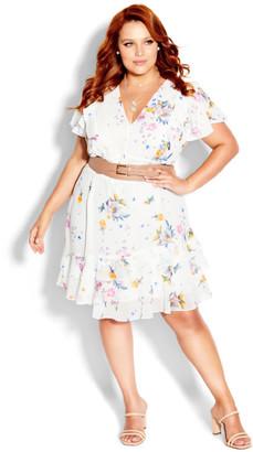City Chic Flutter Rose Dress - white