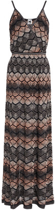 M Missoni Wrap-effect Metallic Crochet-knit Maxi Dress