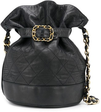 Chanel Pre Owned 1980s Diamond Quilt Belted Bucket Bag
