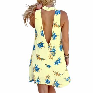 Loalirando Summer Dresses for Women Floral Printed Halter Neck Sleeveless Open Back Mini Beach Sundress (Yellow S)