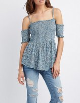 Charlotte Russe Paisley Smocked Cold Shoulder Top