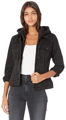 Blank NYC Denim Jacket w/ Removable Hood (Private Jet) Women's Clothing