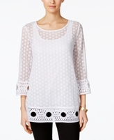 Alfani Petite Crochet-Overlay Top, Created for Macy's