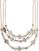 Nine West Rose Gold-Tone Multi-Bead Triple Row Necklace