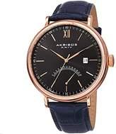 Akribos XXIV Men's AK845RGBU Retrograde Rose Tone Stainless Steel and Blue Leather Strap Watch