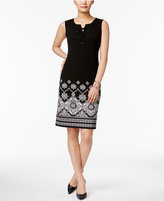 JM Collection Printed Lace-Up Dress, Only at Macy's