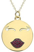 Alison Lou Women's 14ct Yellow Gold Rubies Large Mwah Necklace of Length 45.72cm