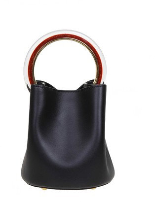 Marni Pannier Hand Bag In Black Leather With Circular Handle In Resin And Metal