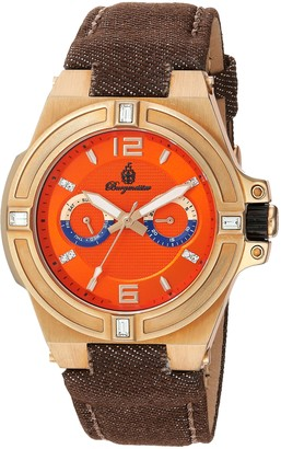 Burgmeister Men's Quartz Watch with Orange Dial Analogue Display and Brown Fabric and Canvas Bracelet BM220-390-1
