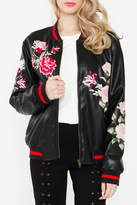 Sugar Lips Embroidered Bomber Jacket