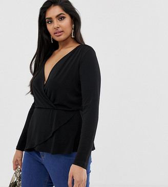 Asos DESIGN Curve wrap top in crepe with asymmetric hem