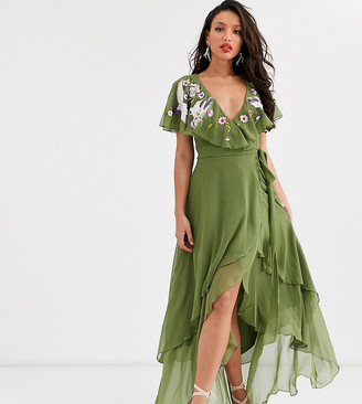 Asos Tall ASOS DESIGN Tall cape back dipped hem maxi dress in embroidery
