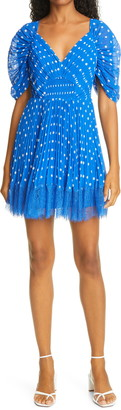 Self-Portrait Polka Dot Pleated Minidress