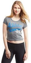 Aeropostale Womens Athletic 34 Heathered Crop Baby Tee Shirt Gray