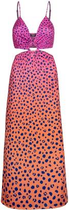 AFRM Rogue Leopard Ombre Cutout Maxi Dress