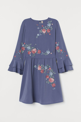 H&M Dress with Embroidery - Blue