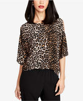 Rachel Roy Leopard-Print Cold-Shoulder Top, Created for Macy's