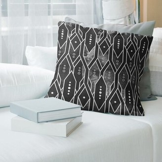 """East Urban Home Trellis Pattern Throw Pillow Size: 18"""" x 18"""", Fill Material: Down Alternative, Color: Black"""