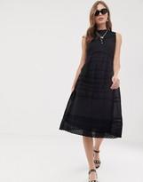 Asos DESIGN sleeveless victoriana midi dress with lace insert