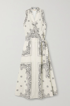 Tory Burch Belted Printed Cotton-voile Midi Wrap Dress - Ivory