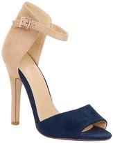 Cream & Navy Suede Sandal Heel